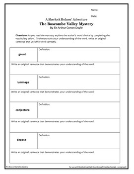 Short Story Unit for The Boscombe Valley Mystery - Sherlock Holmes