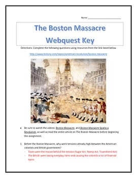 The Boston Massacre- Webquest and Video Analysis with Key
