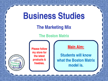 The Boston Matrix - Product Portfolio - Marketing Mix - 4 P's - Business Studies
