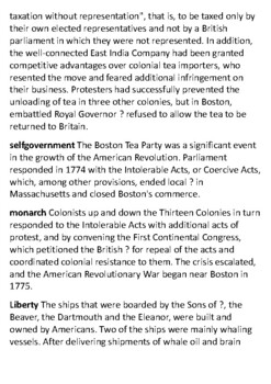 The Boston Tea Party Crossword