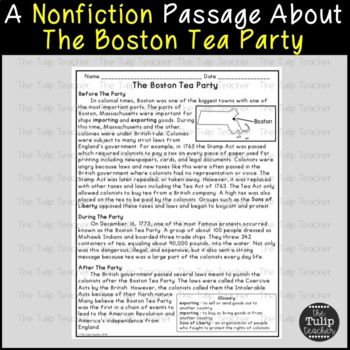 The Boston Tea Party Reading Comprehension Paired Passages