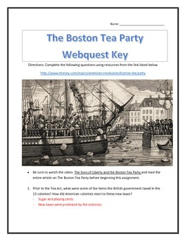 The Boston Tea Party- Webquest with Key