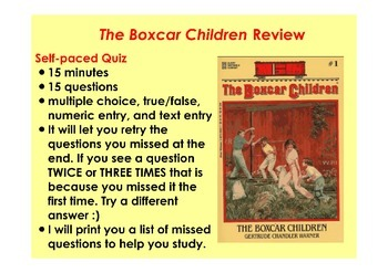 The Boxcar Children #1 Self-Paced Quiz Flipchart