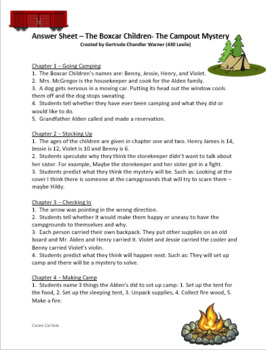 The Boxcar Children- Camp-Out Mystery Question Sheet