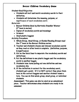 The Boxcar Children Mystery Vocabulary Game