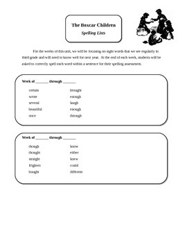 The Boxcar Children Spelling Sheet