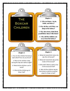 The Boxcar Children THE BOXCAR CHILDREN (Book #1) - Discussion Cards
