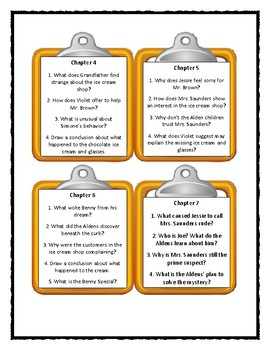 The Boxcar Children THE CHOCOLATE SUNDAE MYSTERY - Discussion Cards