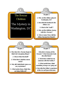 The Boxcar Children THE MYSTERY IN WASHINGTON, DC  - Discussion Cards