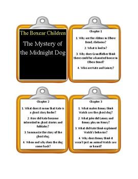 The Boxcar Children THE MYSTERY OF THE MIDNIGHT DOG  - Discussion Cards