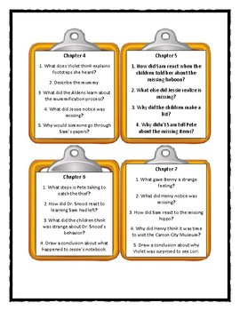 Boxcar Children MYSTERY OF THE MUMMY'S CURSE Discussion Cards(Distance Learning)
