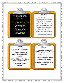 The Boxcar Children THE MYSTERY OF THE QUEEN'S JEWELS * Discussion Cards