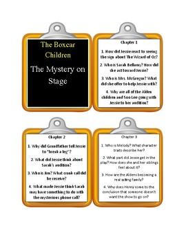 The Boxcar Children THE MYSTERY ON STAGE - Discussion Cards
