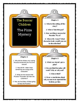 The Boxcar Children THE PIZZA MYSTERY - Discussion Cards