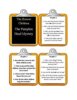 The Boxcar Children THE PUMPKIN HEAD MYSTERY - Discussion Cards