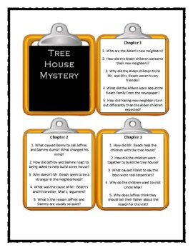 The Boxcar Children TREE HOUSE MYSTERY * Discussion Cards