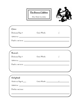The Boxcar Children Vocabulary Packet