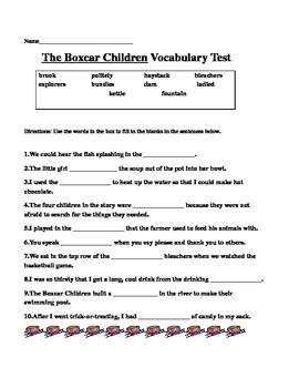 The Boxcar Children Vocabulary Quiz