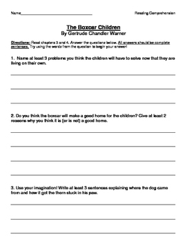 The Boxcar Children by Gertrude Chandler Warner Comprehension Questions