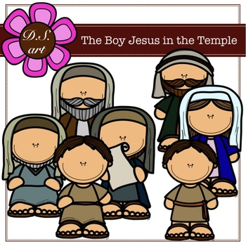 The Boy Jesus in the Temple Digital Clipart (color and black&white)