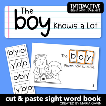 """Interactive Sight Word Reader """"The Boy Knows a Lot"""""""