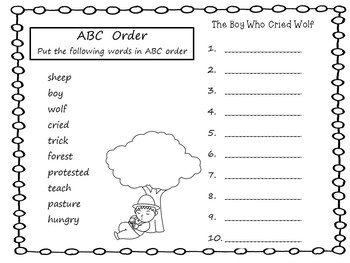 The Boy Who Cried Wolf ~ 45 pages Common Core Activities  NEW UPLOAD