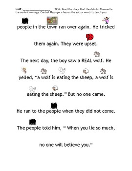 The Boy Who Cried Wolf Adapted Reading with Picture Support