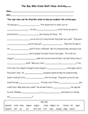 The Boy Who Cried Wolf Cloze Activity