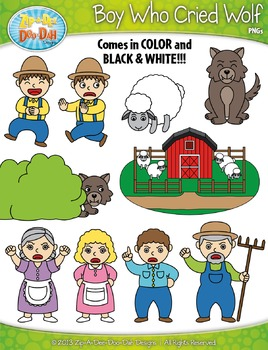 The Boy Who Cried Wolf Famous Fables Clip Art Set — Over 4