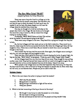 The Boy Who Cried Wolf - Literary Text Test Prep