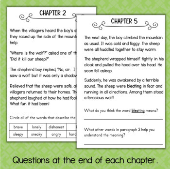 The Boy Who Cried Wolf Reading Comprehension Activity Book - Aesop's Fables