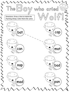 The Boy Who Cried Wolf Short Vowel Rhyming Practice Sheets
