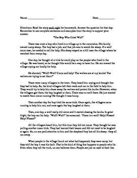 The Boy Who Cried Wolf Test Prep Homework