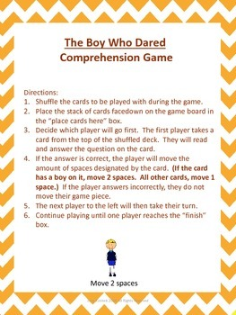 The Boy Who Dared Comprehension Game