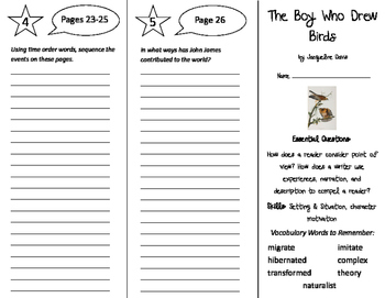 The Boy Who Drew Birds Trifold - ReadyGen 4th Grade Unit 1 Module A