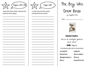The Boy Who Drew Birds Trifold - Wonders 5th Grade Unit 2 Week 3