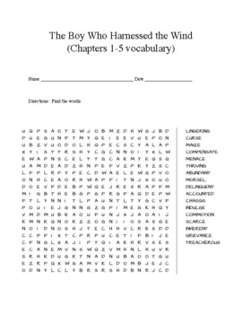 The Boy Who Harnessed the Wind (1-5 vocabulary word search)