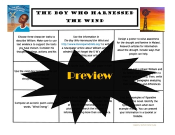 The Boy Who Harnessed the Wind Choice Board Novel Study Activities Book Project