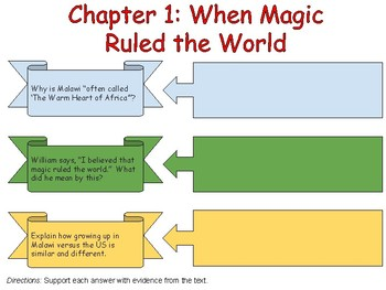 The Boy Who Harnessed the Wind Classwork-Chapter 1-10