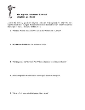 The Boy Who Harnessed the Wind Comprehension Questions- Young Readers Edition