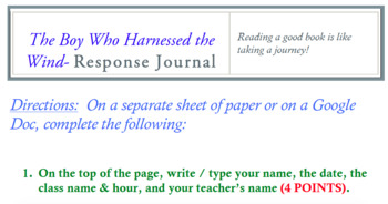 The Boy Who Harnessed the Wind Response Journal
