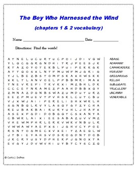 The Boy Who Harnessed the Wind ch. 1-2 word search