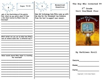 """The Boy Who Invented TV"" Trifold Activity Reading Wonders 5th Grade"