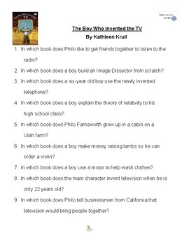 The Boy Who Invented the TV by Kathleen Krull, Battle of the Books Questions