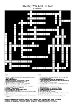 The Boy Who Lost His Face by Louis Sachar - Crossword Puzzle