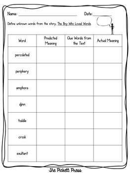 The Boy Who Loved Words -Mentor Text Activities