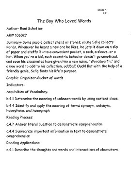 The Boy Who Loved Words by Roni Schotter Think A Loud Lesson