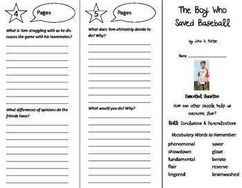 The Boy Who Saved Baseball Trifold - Journeys 6th Grade Unit 2 Week 1 (2011)
