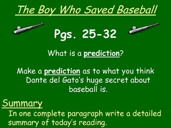 The Boy Who Saved Baseball by John H. Ritter Reading Response Questions