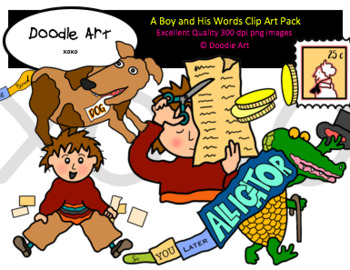 The Boy and His Words Clipart Pack